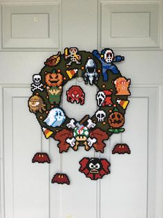 8bit Nintendo Cross Stitch and Pixel Art Halloween Wreath
