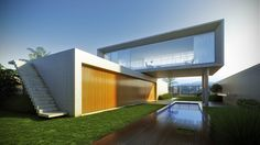 Cantilevered concrete stairs, large expanses of continuous glazing | Marcio Kogan Architect | Brazil