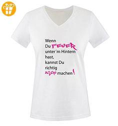 Comedy Shirts - Wenn du Feuer unter'm Hintern hast, kannst du richtig Asche machen! - Damen V-Neck T-Shirt - Weiss / Schwarz-Pink Gr. M - Shirts mit spruch (*Partner-Link)