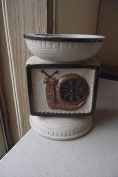 Vintage Ceramic Beige Colored Snail Pillar Candle Holder Brown Circle Square Use