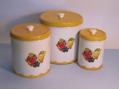 Retro Nesting Cannisters  Set of Three 3 by CuriousCatVintage, $28.00