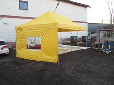 4x8m keltainen pop up teltta logolla