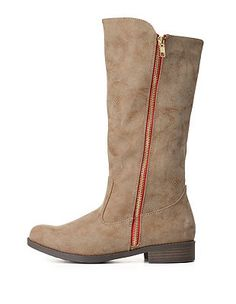 Qupid Burnished Zipper Riding Boots: Charlotte Russe