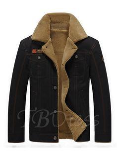 Lapel Thicken Warm Fleece Cotton Slim Fit Men\'s Casual Jacket - m.tbdress.com