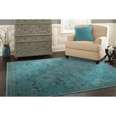 Shop allen + roth Belsburg Rectangular Aqua Transitional Woven Area Rug (Common: 5-ft x 8-ft; Actual: 5.25-ft x 7.5-ft) at Lowes.com