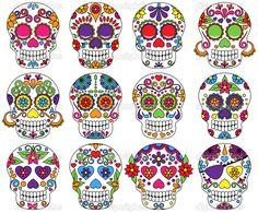 Imágenes de Pinterest   Vector conjunto de día de los muertos o calaveras de azúcar ...