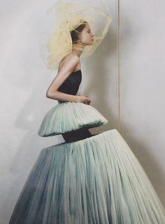 Magdalena Frackowiak wearing Viktor & Rolf, photographed by Josh Olins for Dazed & Confused.