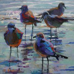 Seagulls in the surf ~ Elizabeth Blaylock Johnson