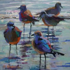 Seagulls in the surf ~ Elizabeth Blaylock Johnson
