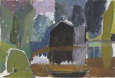 Ivon Hitchens, Dark Boathouse, Oil on canvas, x 33 in. Landscape Artwork, Abstract Landscape, Abstract Art, Abstract Trees, Contemporary Landscape, Matisse, Van Gogh, Paint Photography, My Art Studio