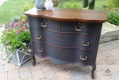 Painted Antique Serpentine Four Drawer Dresser with Mirror Tiger Oak Refinished Surface Annie Sloan Chalk Paint Graphite distressed Waxed