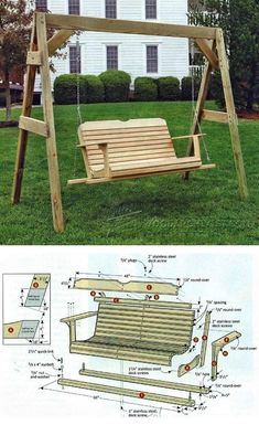 Porch Swing Plans - Outdoor Furniture Plans and Projects - Woodwork, Woodworking, Woodworking Plans, Woodworking Projects Woodworking Garage, Woodworking Projects, Woodworking Workshop, Woodworking Videos, Woodworking Beginner, Woodworking Organization, Woodworking Quotes, Woodworking Joints, Woodworking Patterns