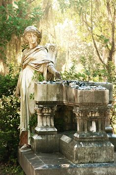 Bonaventure Cemetery in Savannah, Georgia, is so stunning, and this is one of my favorite markers there! It's the beautiful angel with the broken wing. This post has tips about the best Bonaventure Cemetery tours and has lots of incredible photos of Bonaventure!   savannahfirsttimer.com Savannah Georgia, Savannah Chat, Bonaventure Cemetery, Ancient Architecture, Markers, Angel, The Incredibles, Tours