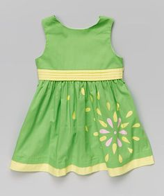 Green & Yellow Floral Bow Dress - Toddler & Girls