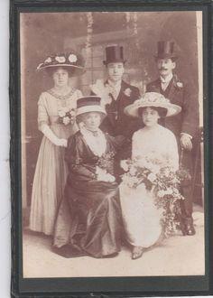 Cabinet Card Photograph Bride Groom Wedding Party Hats Men Woman Flowers