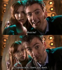 Captain Jack Harkness, Doctor Who, Donna. Doctor Who, 10th Doctor, Geronimo, Captain Jack Harkness, Donna Noble, Don't Blink, Torchwood, Time Lords, David Tennant
