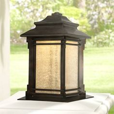 """279.00 Hickory Point 16 1/2"""" High LED Pier Mount Light in Bronze"""