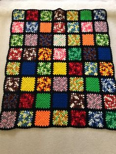 Colorful Black Crochet Wool Afghan Throw, Granny Square Pattern, x Colorful Black Crochet Wool Afghan Granny Square Pattern Granny Square Crochet Pattern, Crochet Squares, Crochet Granny, Crochet Blanket Patterns, Crochet Stitches, Crochet Ideas, Scrap Yarn Crochet, Crochet Wool, Crochet Quilt