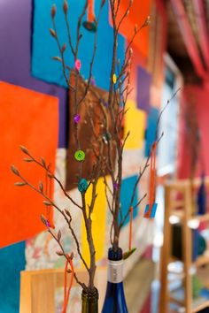 Buttons and Branches! A funky and colorful craft museum wedding | Offbeat Bride