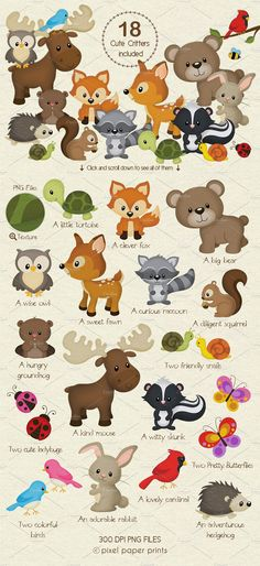 Woodland Animals Design Kit by PixelPaperPrints on Woodland Mobile, Woodland Theme, Woodland Baby, Woodland Nursery, Felt Animal Patterns, Stuffed Animal Patterns, Woodland Creatures, Woodland Animals, Felt Animals