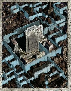 """Walling off the City: Jeff Konigsberg's """"Drawings for Manhattan"""""""