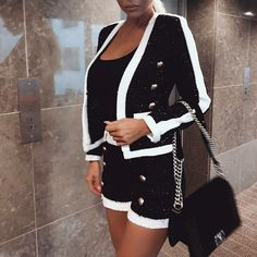 High Quality 2 Two Piece Set Women Black White Short Pants Double Button Blazer Blazer E Short, Blazer And Shorts, Short Suit, Blazer Dress, Jacket Dress, White Shorts, Tweed Blazer, Black And White Two Piece, Black And White Jacket