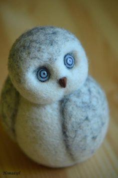 Needle felted Snow owl by Krupennikova Oxana. Войлочная игрушка Полярная сова, Крупенникова Оксана.