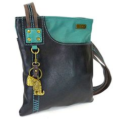 Chala Handbag Xbody Swing Bag, Crossbody Swing Bag, FAUX Leather, 2 Tone (Dog, Teal/Black) for sale Crossbody Phone Purse, Leather Crossbody, Black Crossbody, Crossbody Bags, Best Handbags, Fashion Handbags, Nice Handbags, Ladies Handbags, Vegan Leather