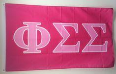 Phi Sigma Sigma Dark Pink/Light Pink Letter Sorority Flag 3' x 5'