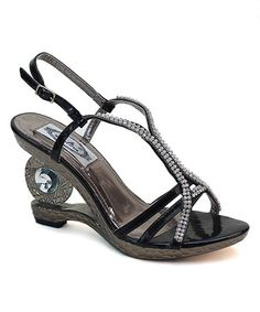 Another great find on #zulily! Black Circle Heel Sandal #zulilyfinds