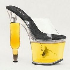 Yello Fish bowl / beer bottle shoe***crazy