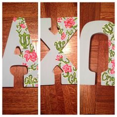 Alpha Chi Omega painted greek letters #lillypulitzer #letters