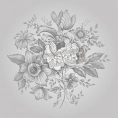 Vintage flower embroidery ornament in silver colors via MuralsYourWay.com