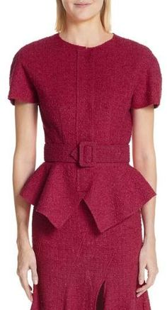 e3f4e41a04798b Oscar de la Renta Belted Peplum Wool Blend Tweed Jacket Tweed Jacket
