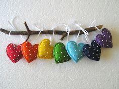 Rainbow Hearts Felt Ornament Handing, home decor, christmas ornament heart, red orange yellow green sky blue purlpe violet, set of 7