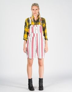 Striped Print Denim Dungarees Shorts UK 8-10