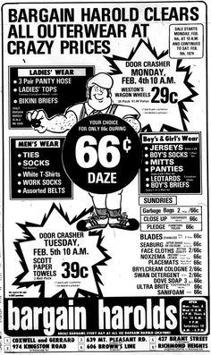 bargain harolds flyer ad Source: the Toronto Sun, Feb 1974 Scarborough Ontario, Scarborough Bluffs, Vintage Advertisements, Vintage Ads, Vintage Shops, Sweet Memories, Childhood Memories, Toronto Ontario Canada, Vintage Restaurant
