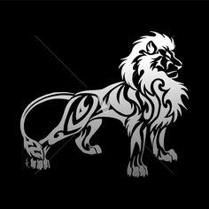 Tribal Maned Lion White On Black