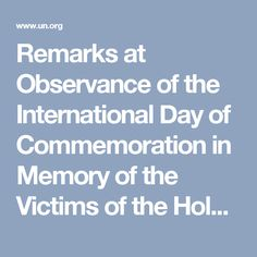 Remarks at Observance of the International Day of Commemoration in Memory of the Victims of the Holocaust | United Nations Secretary-General