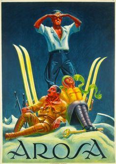 Vintage Ski Poster. Swiss. Arosa