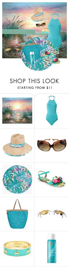 """On Beach Time"" by sherrysrosecottage-1 ❤ liked on Polyvore featuring Marysia Swim, Peter Grimm, Yves Saint Laurent, Boohoo, Irregular Choice, Roxy, Fornash, Moroccanoil and DutchCrafters"