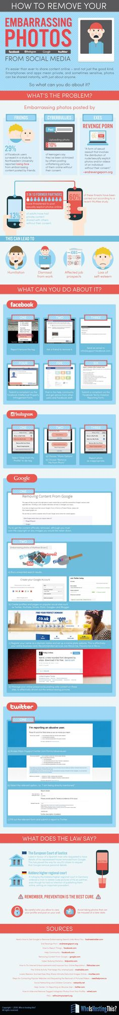 How To Remove Embarrassing Photos From #SocialMedia - #Facebook, #Twitter, #Google #Instagram - #infographic