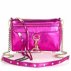 Rebecca Minkoff Mini MAC Clutch in Metallic Magenta Leather Clutch, Leather Purses, Leather Handbags, Rebecca Minkoff Handbags, Pink Clutch, Metallic Leather, Pink Leather, Pink Handbags, Mini Purse