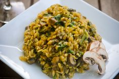 Vegan mushroom risotto- add lemon alive oil as a drizzle.