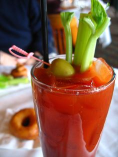 Bloody Mary is a classic ! For a real bloody Mary, you have to use Clamato Juice. You can also drink a Virgin , it's the alcohol free version