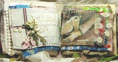 lovely use of fabric in an art journal <3