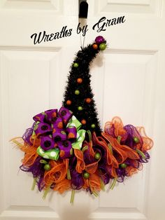 THIS ITEM IS IN STOCK NOW!  Witch Hat Wreath | Witches Hat Door Hanger | Halloween Decor | Halloween Wreath | Mesh Witch Hat | Whimsical Decor | Front Door Wreath | Witch Hat Decorations | Witch's Hat  #halloween #wreaths #witcheshat