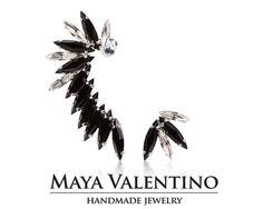 Silver earrings Prom Ear cuff Black Ear cuff Gift by MayaValentino Prom Earrings, Prom Jewelry, Jewelry Model, Ear Jewelry, Silver Earrings, Gifts For Women, Gifts For Her, Climbing Earrings, Handmade Jewelry