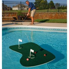 @Overstock.com - Play a round of golf in your swimming pool or backyard with the ultimate Aqua Golf Backyard Golf Game. Chip onto our floating island green with our 12 hook and loop golf balls or tee up your shot and aim for one of the flags on the floating green.http://www.overstock.com/Sports-Toys/Swim-Time-Aqua-Golf-Backyard-Golf-Game/7861227/product.html?CID=214117 $65.99