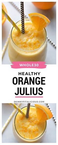 This Healthy Dairy Free Orange Julius Smoothie is made with 5 wholesome ingredients in 5 minutes. This Healthy Dairy Free Orange Julius Smoothie is made with 5 wholesome ingredients in 5 minutes. Whole 30 Smoothies, Low Calorie Smoothies, Healthy Breakfast Smoothies, Vegan Smoothies, No Calorie Foods, Fruit Smoothies, Low Calorie Vegan, Low Carb, Paleo Breakfast